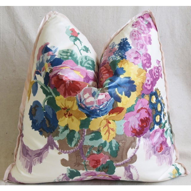 """Early 21st Century Hazelton House Floral Bouquet Feather/Down Pillow 20"""" Square For Sale - Image 5 of 6"""