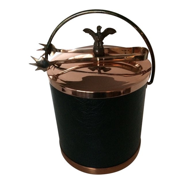 Vintage Mid-Century Lidded Copper Eagle Pull and Black Vinyl Ice Bucket & Brass Ice Tongs For Sale