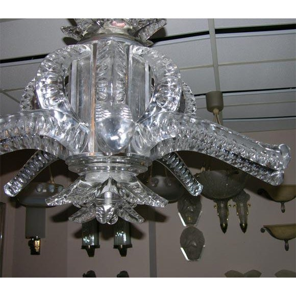1950s Crystal Chandelier by Marc Lalique For Sale - Image 4 of 5