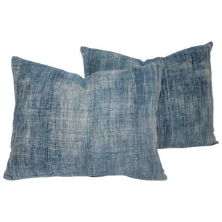 19th Century Blue Linen Pillows - a Pair For Sale