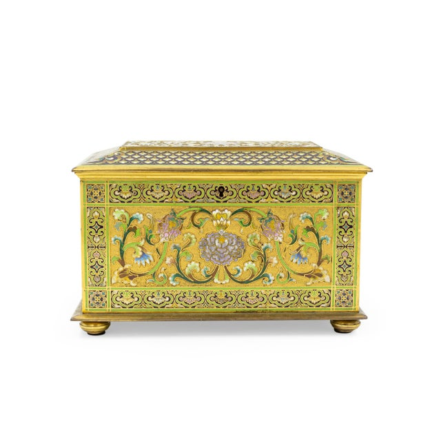 French Victorian bronze and multicolored enamel cloisonne box with floral and scroll design with red velvet interior