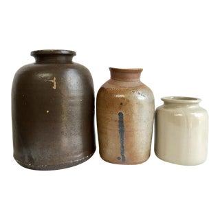 Antique Stoneware Crocks - Set of 3 For Sale
