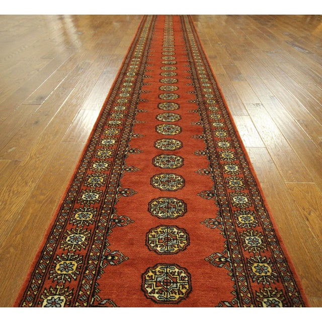 "Bokhara Orange Hand Made Wool Rug - 2'6"" x 16'1"" - Image 3 of 8"