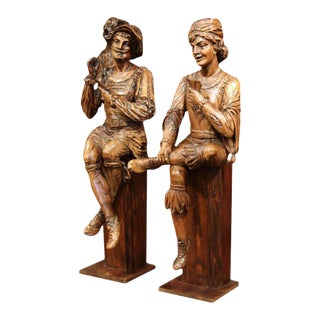 """Mid-18th Century """"The Cards Players"""" Italian Carved Walnut Statues - A Pair"""