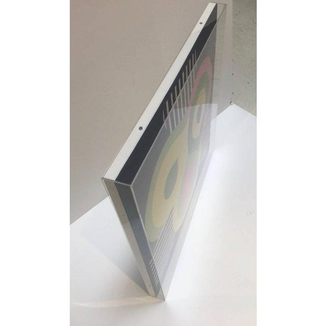 Modern Abstract Vintage Silk Scarf, New Custom Lucite Box Frame ...