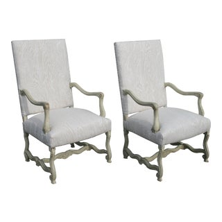 Louis XV Painted Library Chairs From France, Newly Recovered in Faux Bois Linen, Sold as a Pair For Sale
