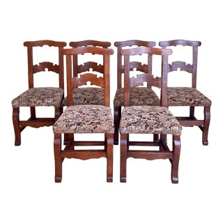 Antique Country French Oak Dining Chairs- Set of 6 For Sale
