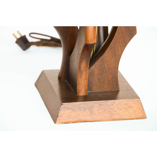 Pair Mid Century Sculptural Teak Wood Lamps - Image 8 of 9