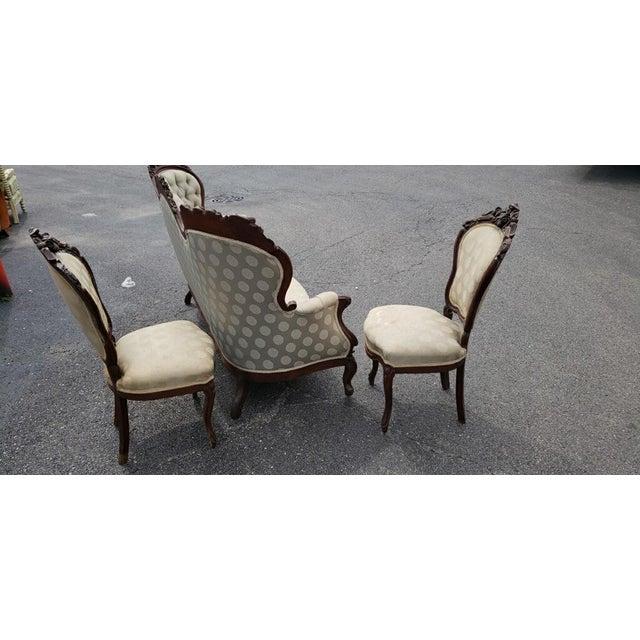 Renaissance Antique Victorian Renaissance Carved Sitting Parlor Set - 3 Piece Set For Sale - Image 3 of 5