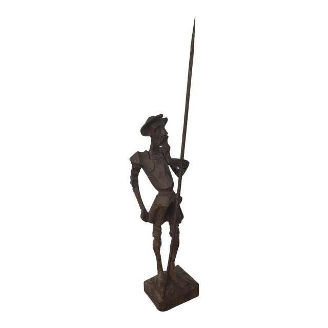 Vintage Wood Carved Don Quixote Statue | Chairish