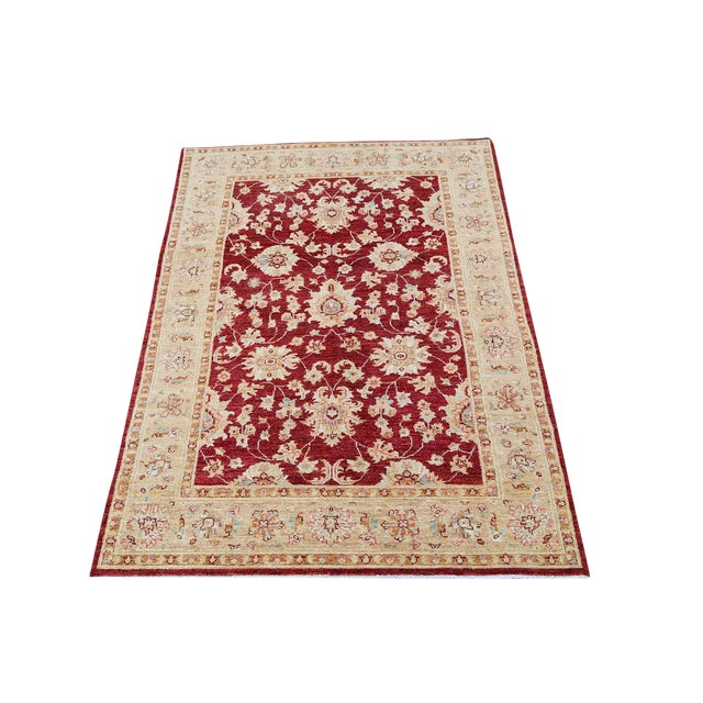 """Sultan Abad Afghani Hand Knotted Rug - 4' x 5'9"""" - Image 1 of 3"""