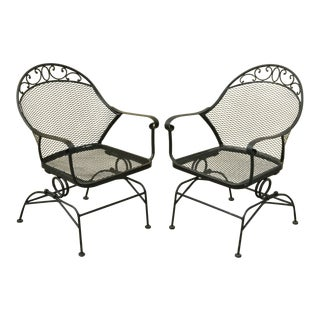 Wrought Iron Better Homes and Gardens Clayton Court Outdoor Spring Arm Chairs - a Pair For Sale