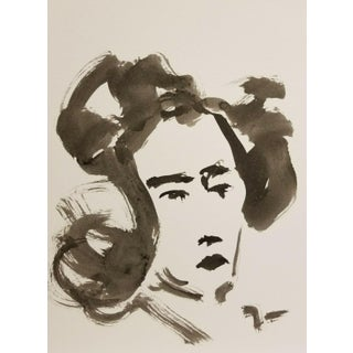 Contemporary Minimalist Black and White Figurative Ink Wash Painting by Jose Trujillo For Sale