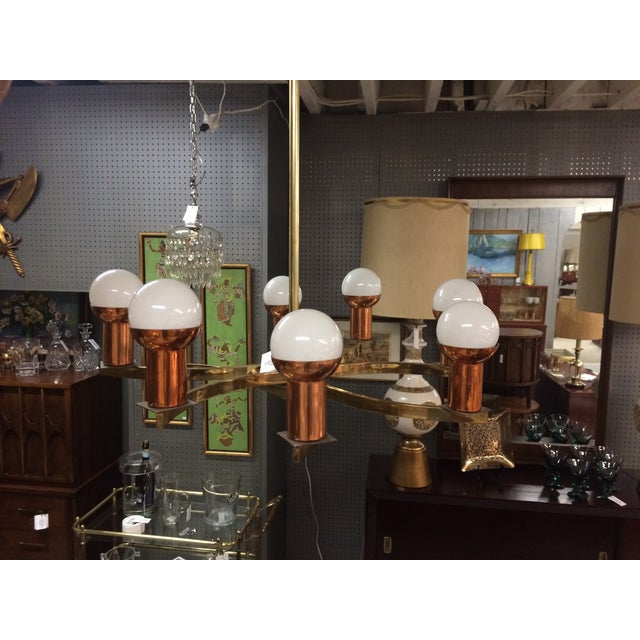 Modernist Brass & Copper Rare Chandelier For Sale In New York - Image 6 of 6