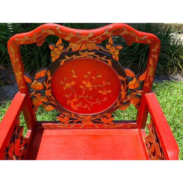 Chinese Red Lacquer and Gilt Throne Chairs - a Pair For Sale - Image 10 of 13