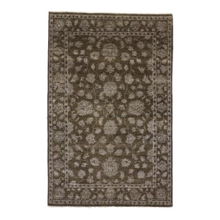 Contemporary Oushak Style Rug with All-Over Floral Design