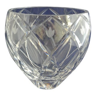 Vintage Heavy Cut Crystal Decorative Bowl For Sale