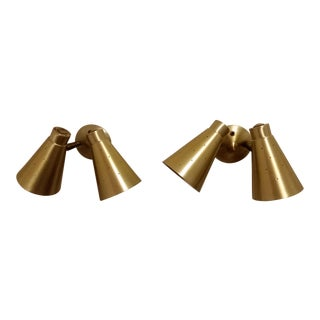 Mid-Century Modern Pierced Aluminum & Brass Cone Sconce Lights - A Pair For Sale