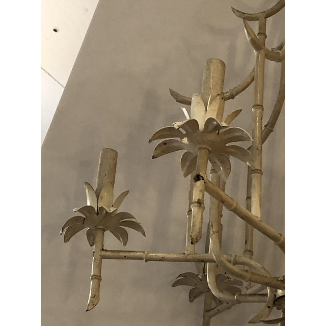 Italian Faux Bamboo Painted Iron and Tole Pagoda Style Chandelier For Sale In Philadelphia - Image 6 of 8