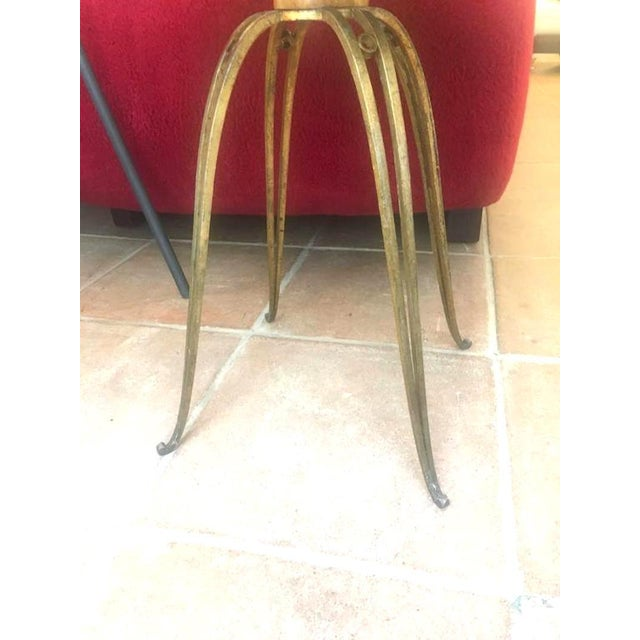 1950s Rene Prou Rare Refined Pair of Side Table in Sycamore and Gold Leaf Wrought Iron For Sale - Image 5 of 9