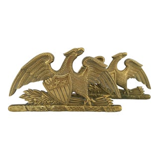 Mid-Century Virginia Metalcrafters Solid Brass Eagle Bookends-A Pair For Sale
