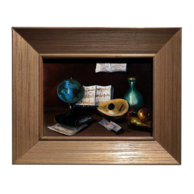 20th Century Gold Cerused Wood Framed Cryptically Composed Still Life Oil Painting on Board For Sale - Image 13 of 13