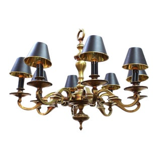 1900s Arts and Crafts Heavy Eight Arm Solid Brass Chandelier For Sale