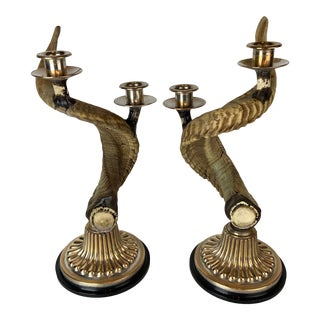 Vintage Western Style Horn Candlesticks Pair Silvered Copper All Natural - a Pair For Sale