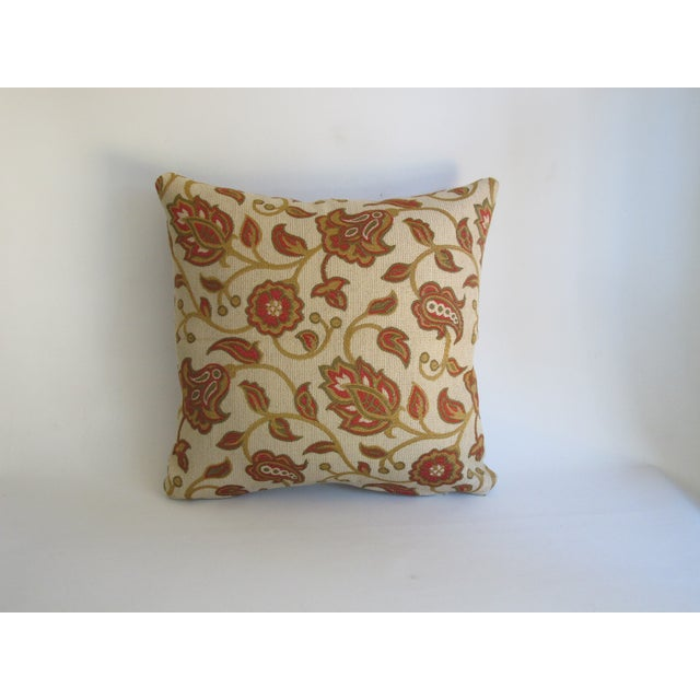 Red & Tan Paisley Vine Pillow - Image 3 of 5