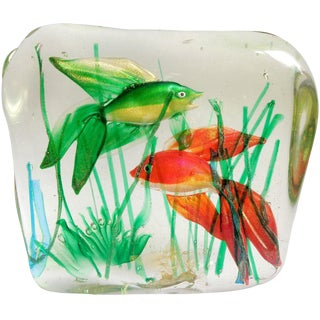 Murano Fancy Red and Green Gold Fish Italian Art Glass Aquarium Sculpture, Mid 20th Century For Sale