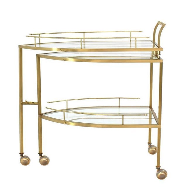 Mid-Century Modern Unusual Iron Shape Folding Brass Tea Cart For Sale - Image 3 of 10