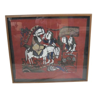Sadao Watanabe Japanese Signed Framed Katazome Good Samaritan For Sale