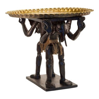 African Elephant-Head Occasional Table with Moroccan Brass Top For Sale