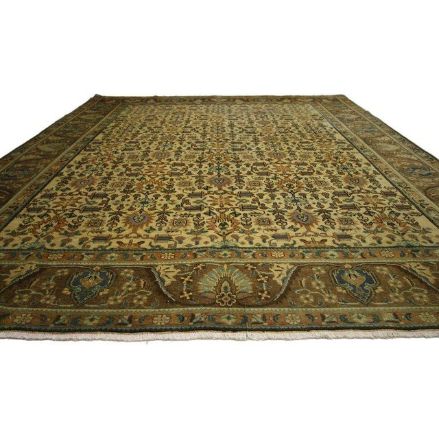 "Art Deco Vintage Persian Tabriz Art Deco Style Rug - 9'8"" X 12'7"" For Sale - Image 3 of 6"