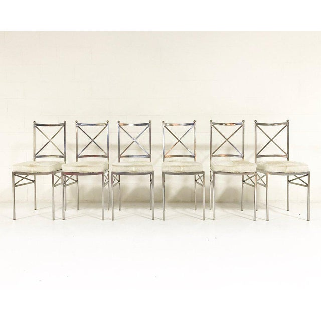 Mid-Century Modern Forsyth One of a Kind Mid-Century Swedish Polished Steel Dining Chairs With Custom Ivory Cowhide Cushions - Set of 10 For Sale - Image 3 of 11