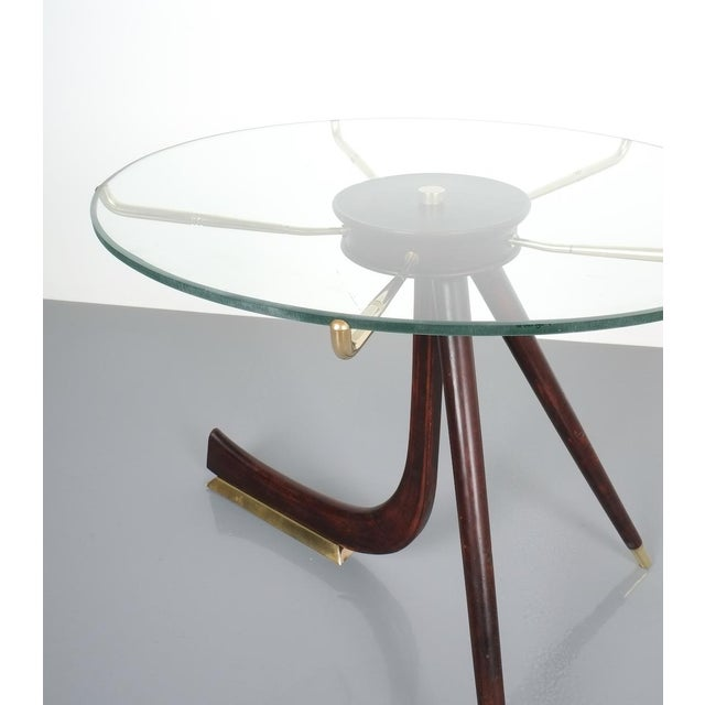 1950s Brevettato Wood Brass Coffee or Side Table, Italy 1955 For Sale - Image 5 of 12