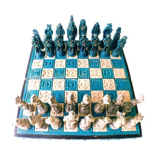 1960s Vintage Mayan Spanish Conqueror Chess Set - 33 Pieces For Sale