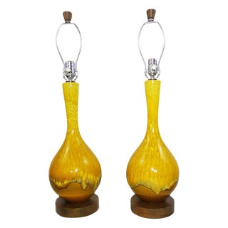 Mid-Century Drip Glaze Lamps - a Pair For Sale