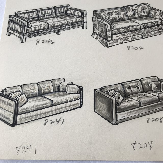 1970s Vintage Furniture Ad Illustrations - A Pair For Sale - Image 4 of 8