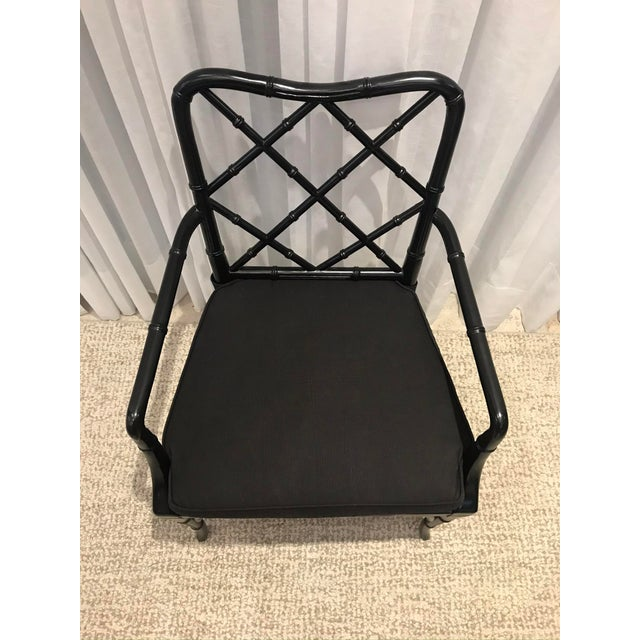 Black Chippendale Arm Chairs with Detachable Cushions - Set of 4 For Sale - Image 9 of 13