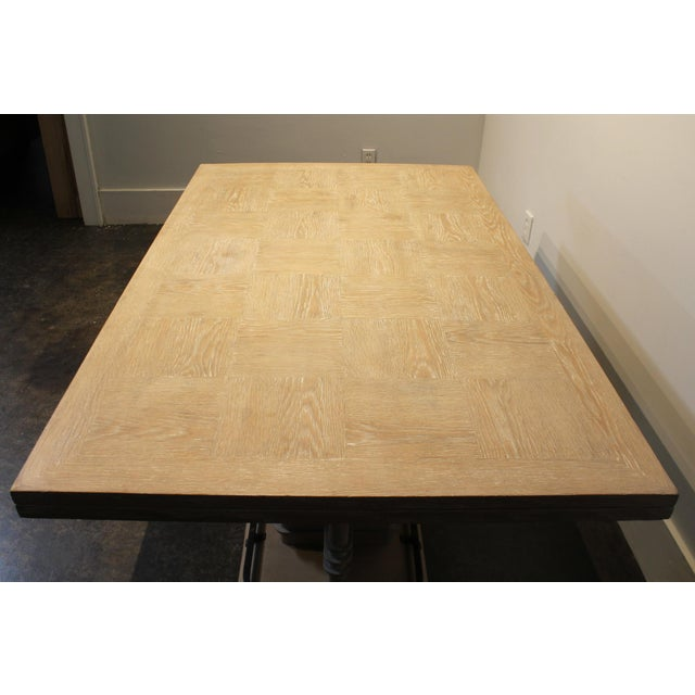 Tan Frank Lloyd Wright Style French Art Deco Cerused Oak Dining Table For Sale - Image 8 of 8