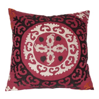 1980s Vintage Embroidery Suzani Pillow Cover For Sale