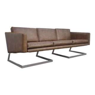 1970s Milo Baughman Style Brown Leather and Chrome Base Sofa For Sale