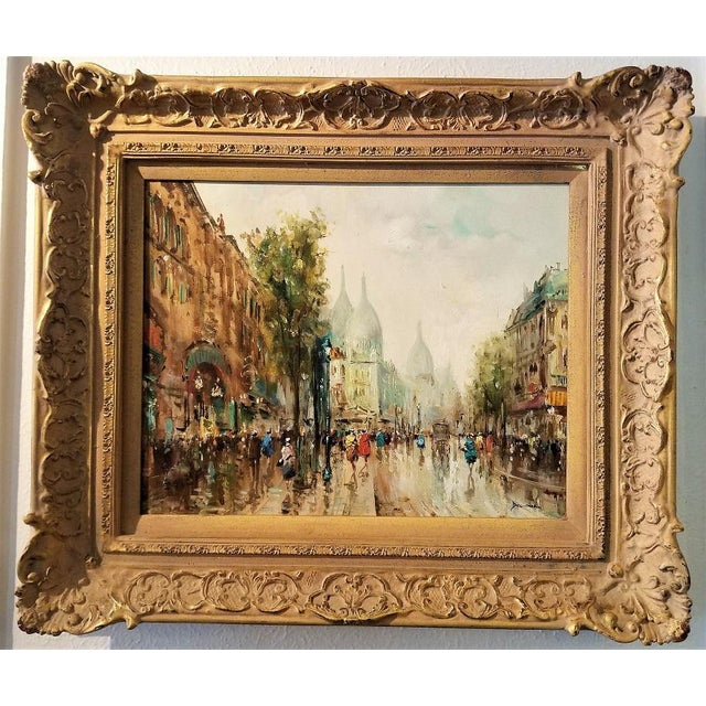 Paris Montmarte Oil Painting on Canvas by Demone For Sale - Image 4 of 6