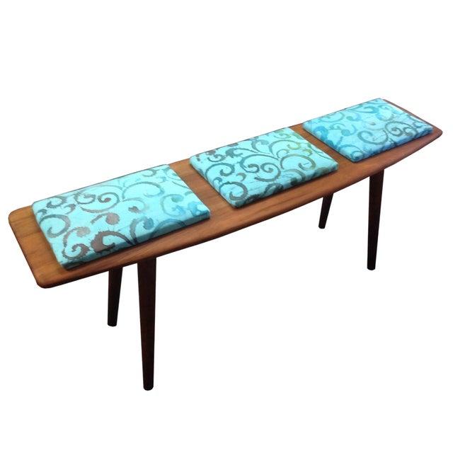 Teak and Batik Three Seater Bench - Image 1 of 6