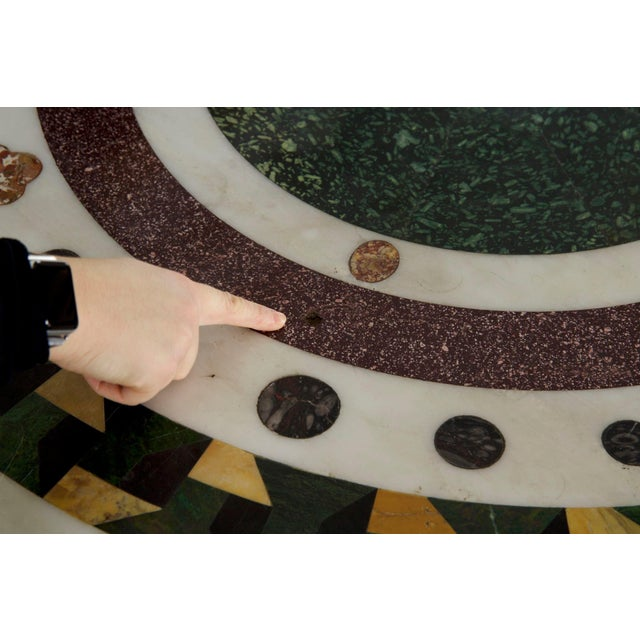 Bronze Italian Neoclassical Antique Pietra Dura Center Table W/ Bronze Base For Sale - Image 8 of 11