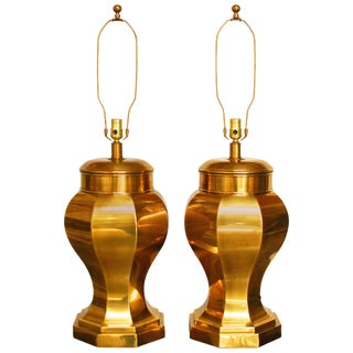 Frederick Cooper Chinoiserie Brass Ginger Jar Lamps - a Pair