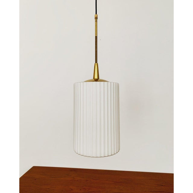 Mid-Century Modern Opaline Glass and Brass Pendant Lamp For Sale - Image 11 of 11