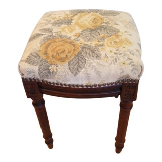 1990s Vintage Yellow Roses Needlepoint Stool For Sale
