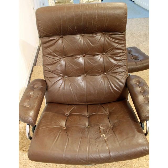 Ekornes ASA Mid-Century Danish Modern Ekornes Stressless Chrome Lounge Chair/Ottoman For Sale - Image 4 of 11